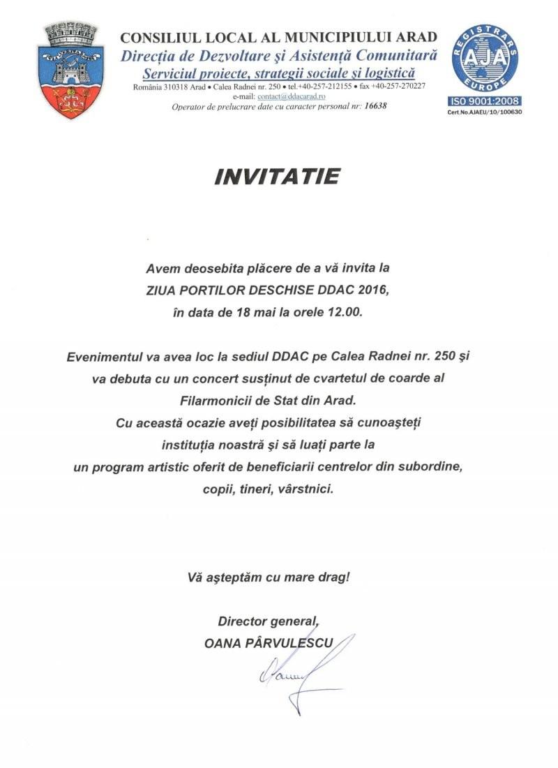 INVITAŢIE - ZIUA PORŢILOR DESCHISE DDAC 2016