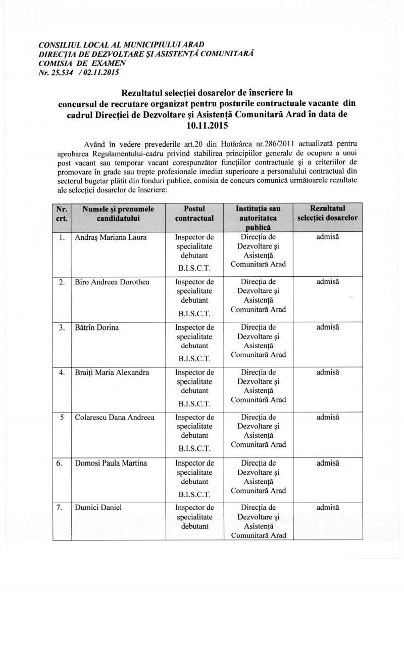 Rezultatul selecţiei dosarelor de înscriere la concursul de recrutare pentru posturile vacante